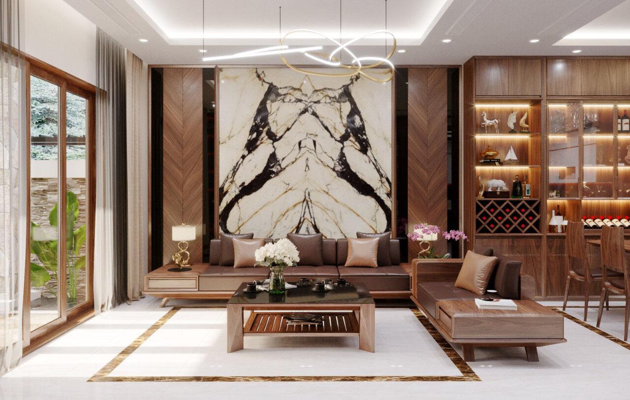 Trang trí nội thất phòng khách bằng gỗ óc chó đẹp đồng bộ