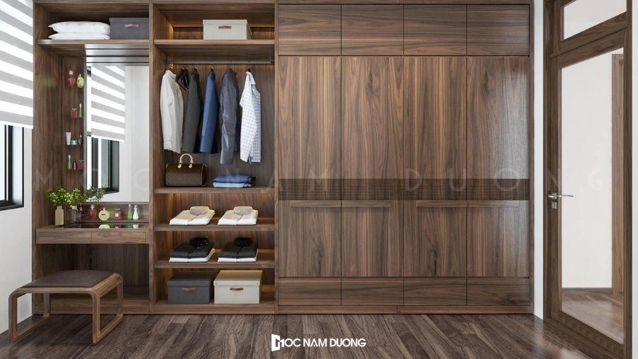 Mẫu tủ quần áo gỗ óc chó 3