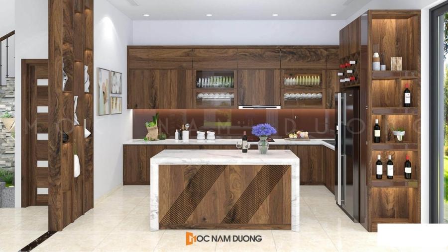 Mẫu tủ bếp gỗ óc chó 1